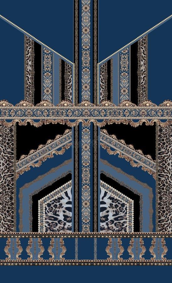Barokke blauwe zwarte de rococo'sluxe van de ontwerp naadloze stijl versace royalty-vrije illustratie