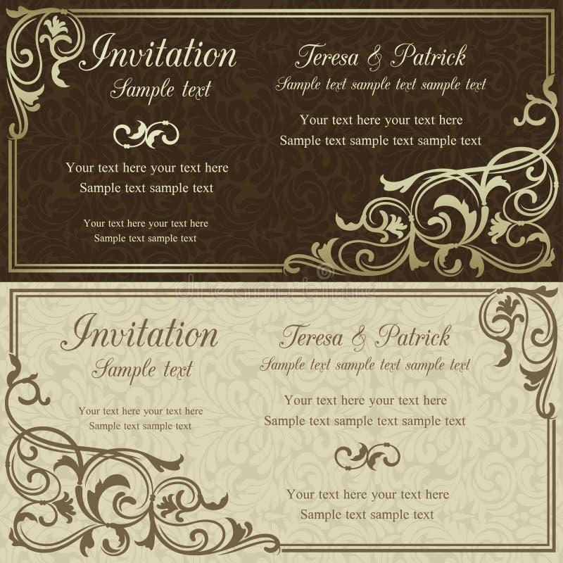 Barokke bruine huwelijksuitnodiging, stock illustratie