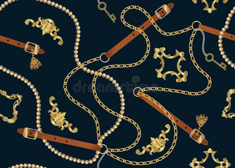 Barokke druk met gouden kettingen, gouden sleutel, parels, riemen, barokke elments Vectorflard voor druk, stof, sjaalontwerp royalty-vrije illustratie