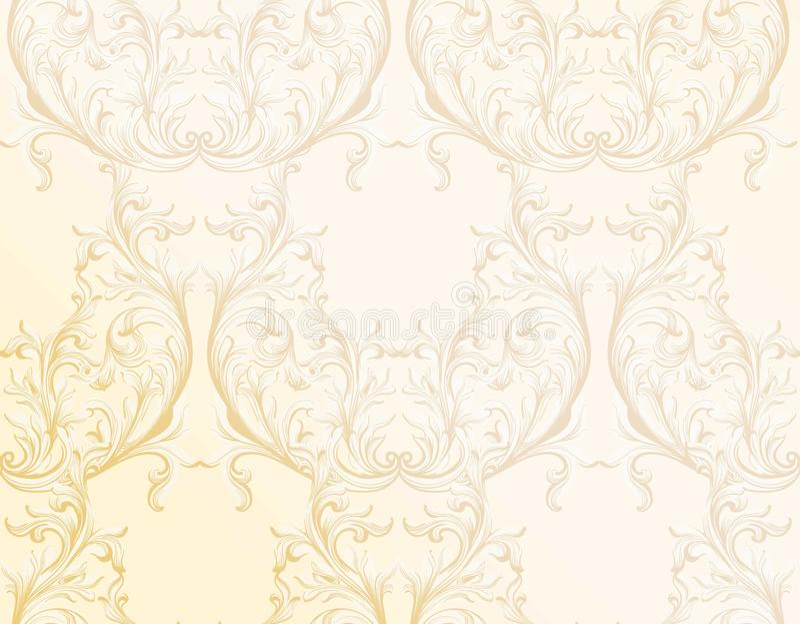 Barokke gouden patroonachtergrond Ornamentdecor voor uitnodiging, huwelijk, groetkaarten Vector graphhics stock illustratie