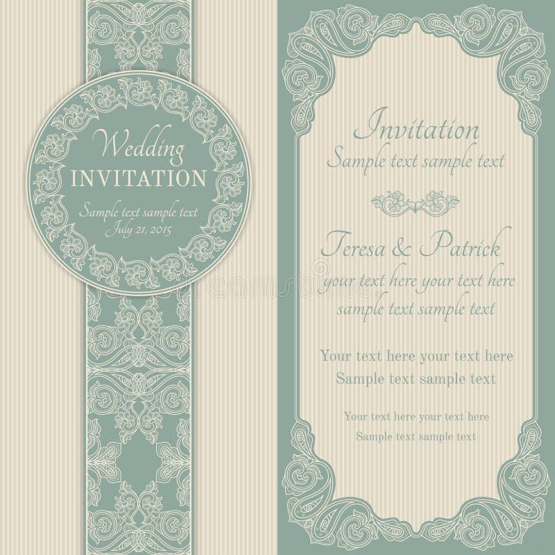 Barokke huwelijksuitnodiging, blauw en beige stock illustratie