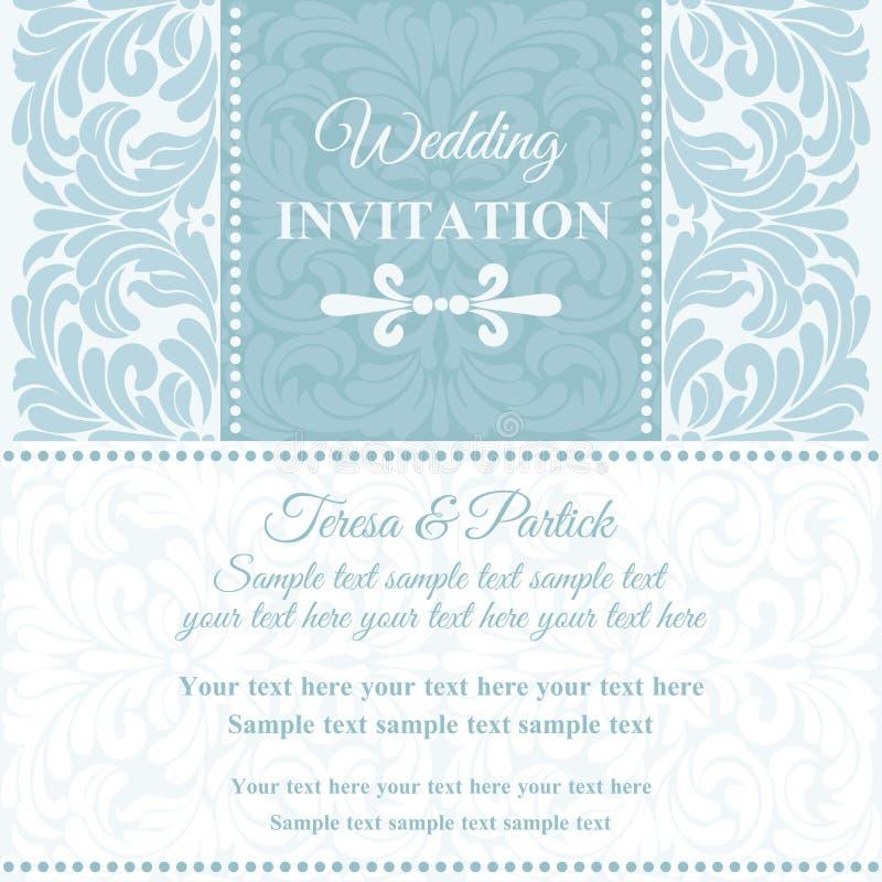 Barokke huwelijksuitnodiging, blauw en wit royalty-vrije illustratie