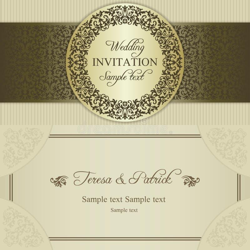 Barokke huwelijksuitnodiging, goud en beige vector illustratie