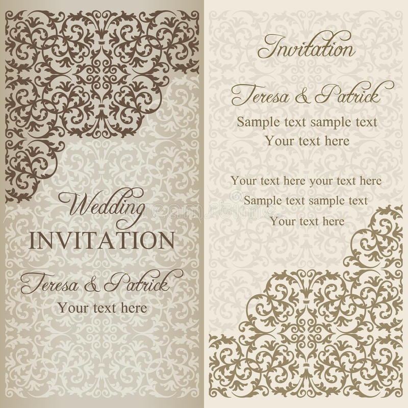 Barokke huwelijksuitnodiging, patina royalty-vrije illustratie