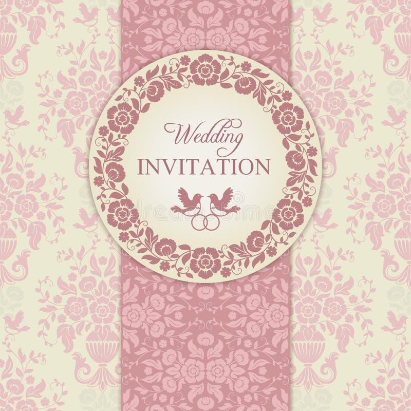 Barokke huwelijksuitnodiging, roze en beige stock illustratie