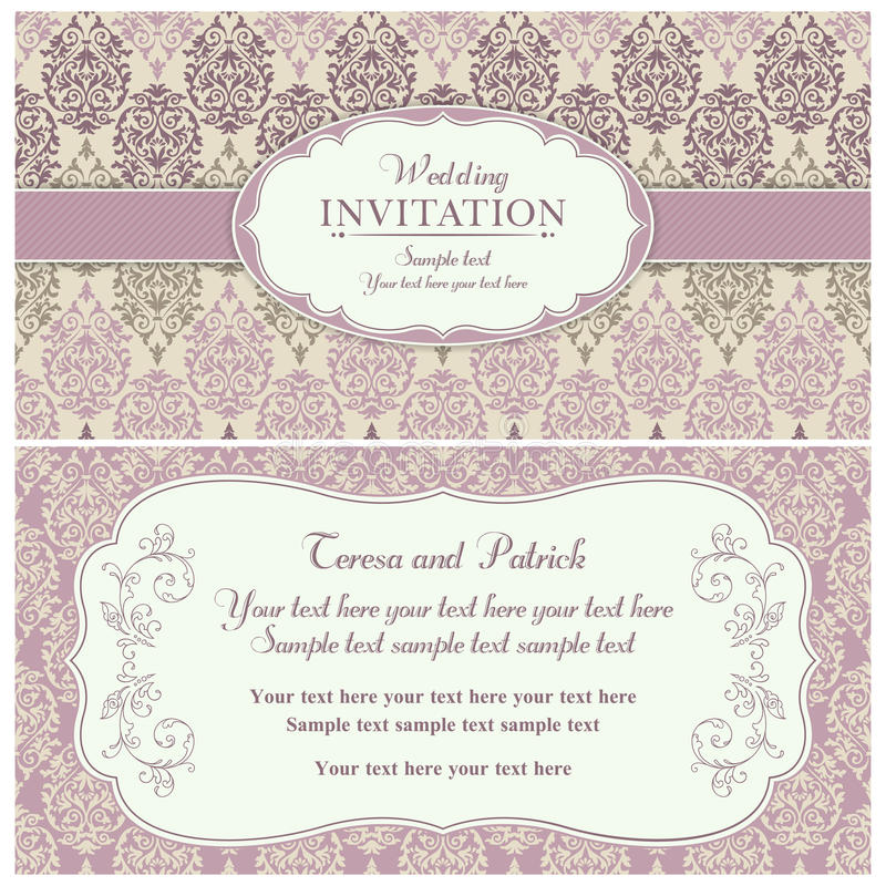 Barokke huwelijksuitnodiging, roze en beige royalty-vrije illustratie