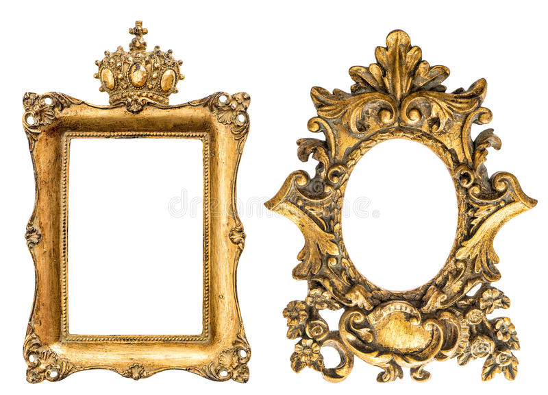 Barokke stijl gouden die omlijsting op witte achtergrond wordt geïsoleerd stock fotografie