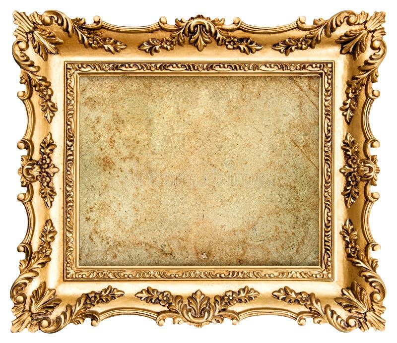 Barokke stijl gouden omlijsting met canvas stock afbeelding