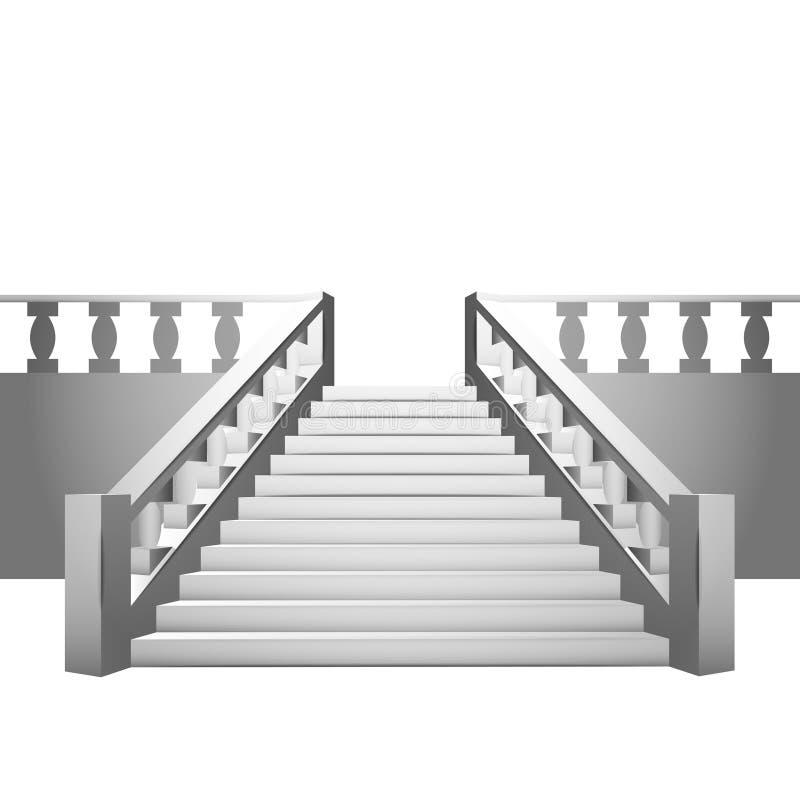 Barokke trap met balustrade op witte achtergrond vector for Balustrade trap