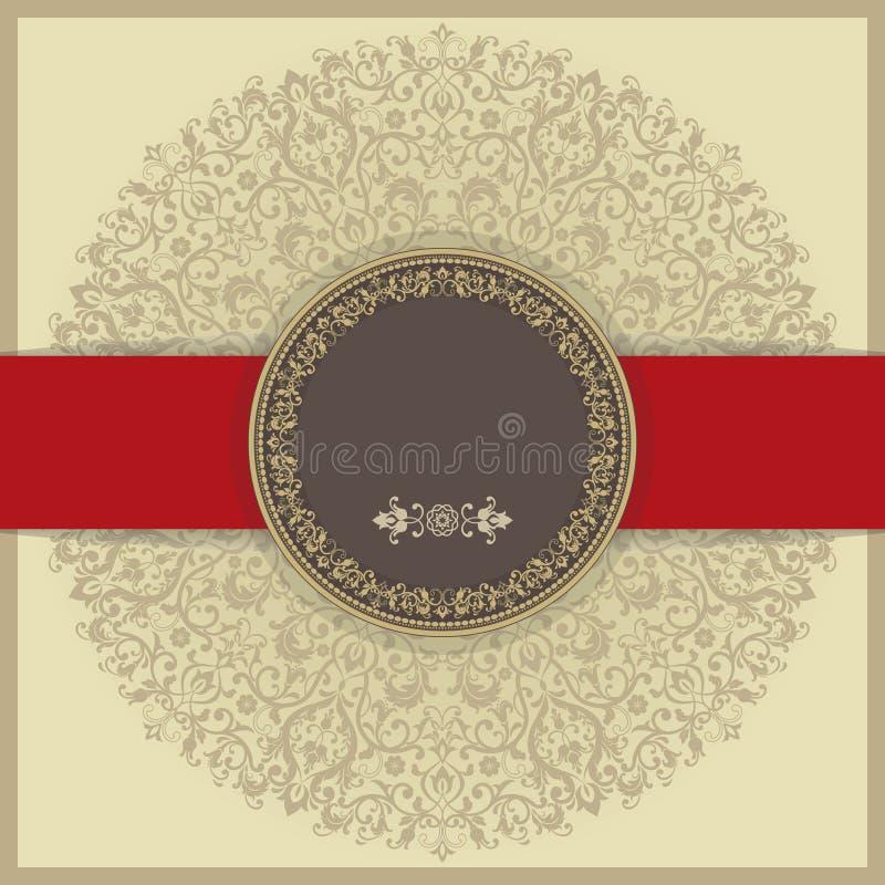 Barokke uitnodigingskaart in ouderwetse stijl, gouden achtergrond en rode lijn vector illustratie