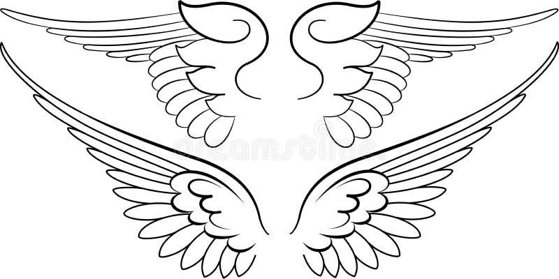 Barokke Vleugels in Kalligrafie royalty-vrije illustratie