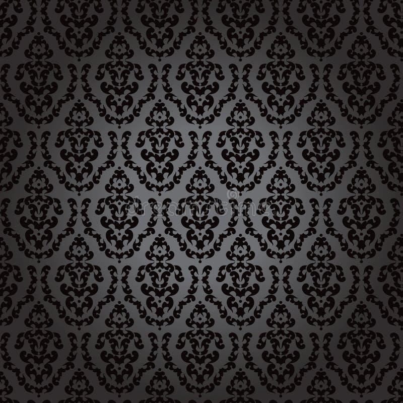 barokowa czarny bezszwowa tapeta royalty ilustracja