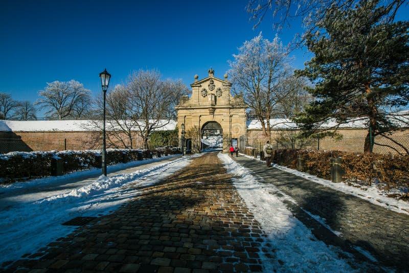 Barokowa Leopold brama przy Vysehrad, część Praga fortyfikacja zdjęcia stock