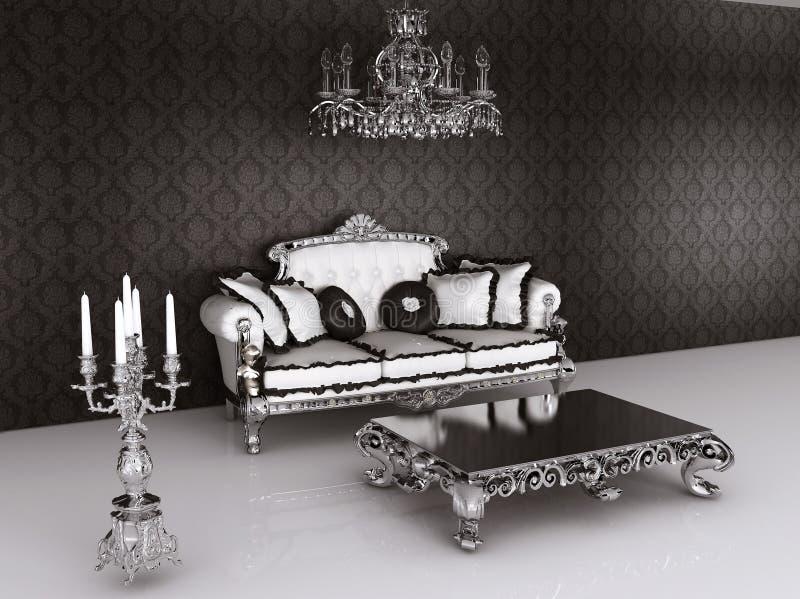 barokowa meblarska wewnętrzna królewska kanapa royalty ilustracja