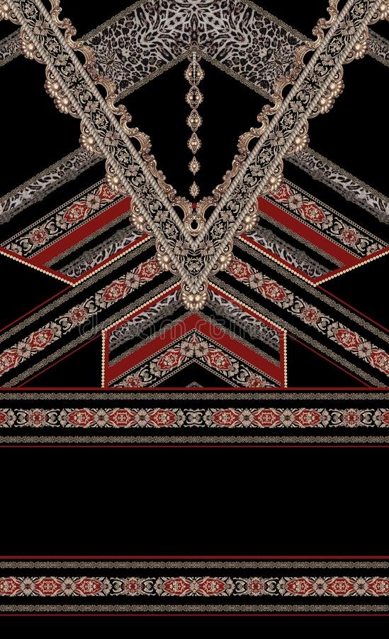 Barokowego czerwonego projekta złota stylu mody elegancka tkanina ilustracja wektor