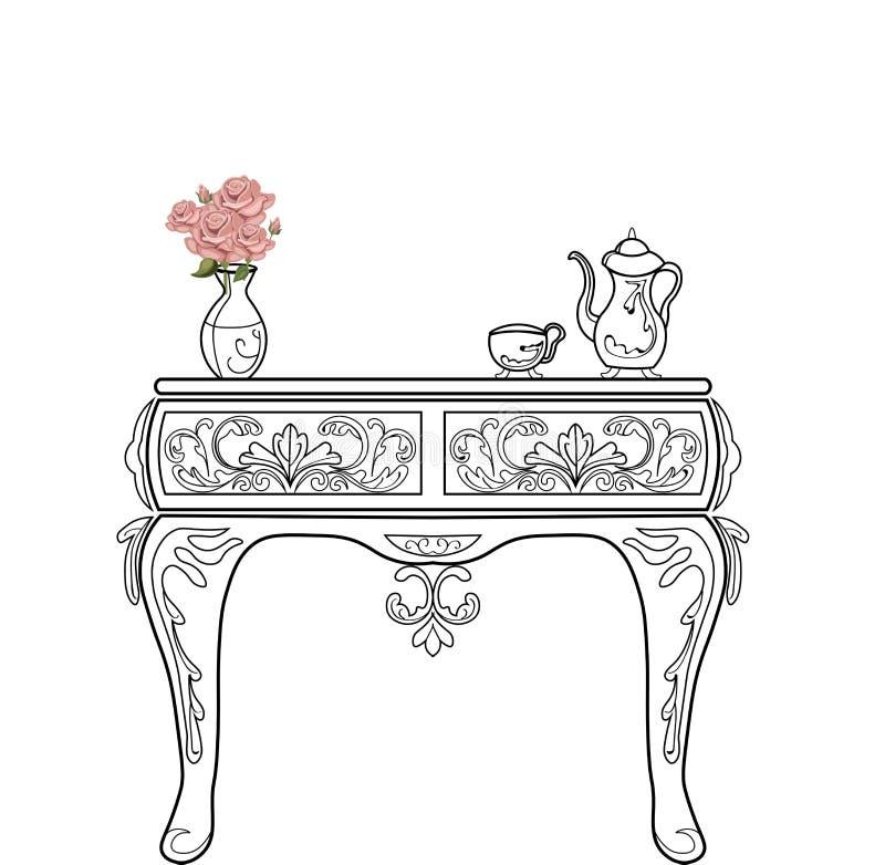 Barokowego wezgłowie komódki meblarskiego bogactwa ustalona kolekcja Zdobna tło wektoru ilustracja ilustracja wektor