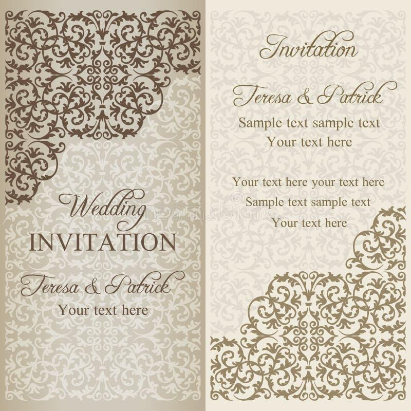 Barokowy ślubny zaproszenie, śniedź royalty ilustracja