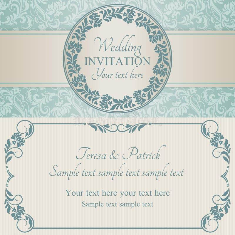Barokowy ślubny zaproszenie, błękit i beż, ilustracji