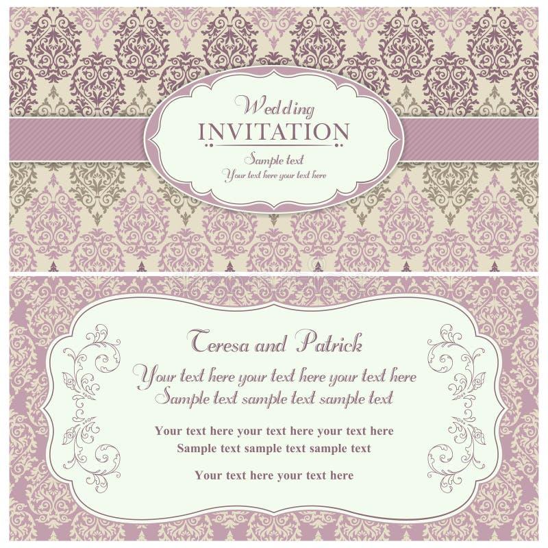 Barokowy ślubny zaproszenie, menchie i beż, royalty ilustracja