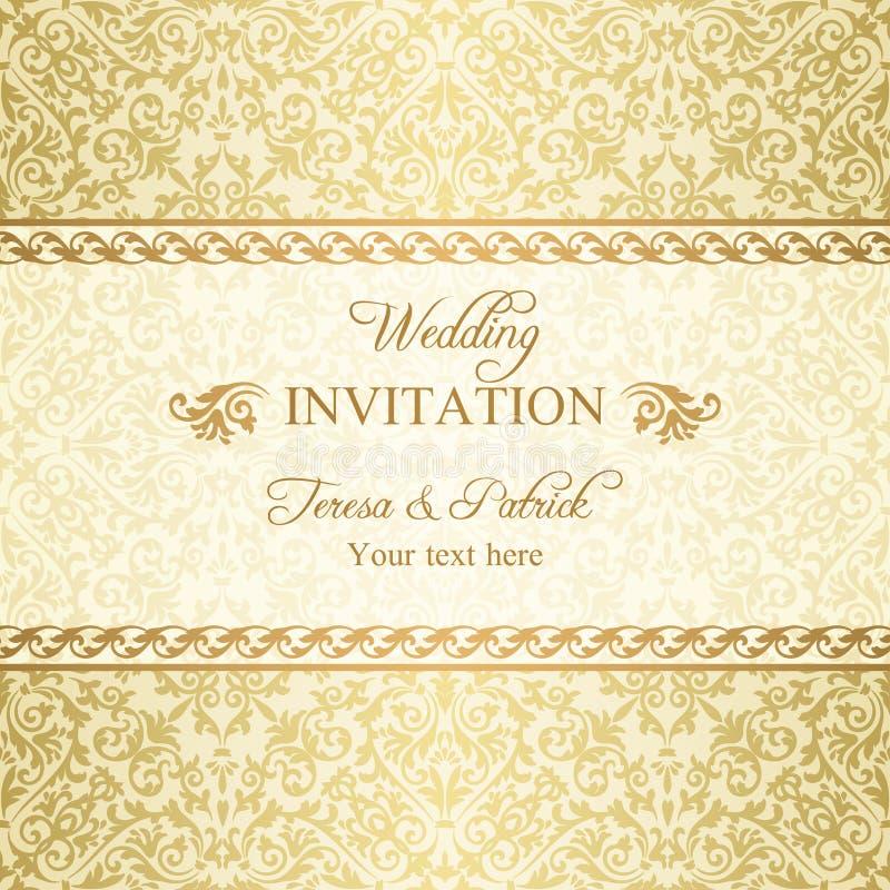 Barokowy ślubny zaproszenie, złoto royalty ilustracja