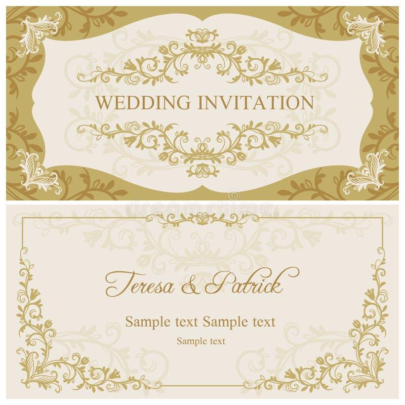 Barokowy ślubny zaproszenie, złoto i beż, ilustracja wektor