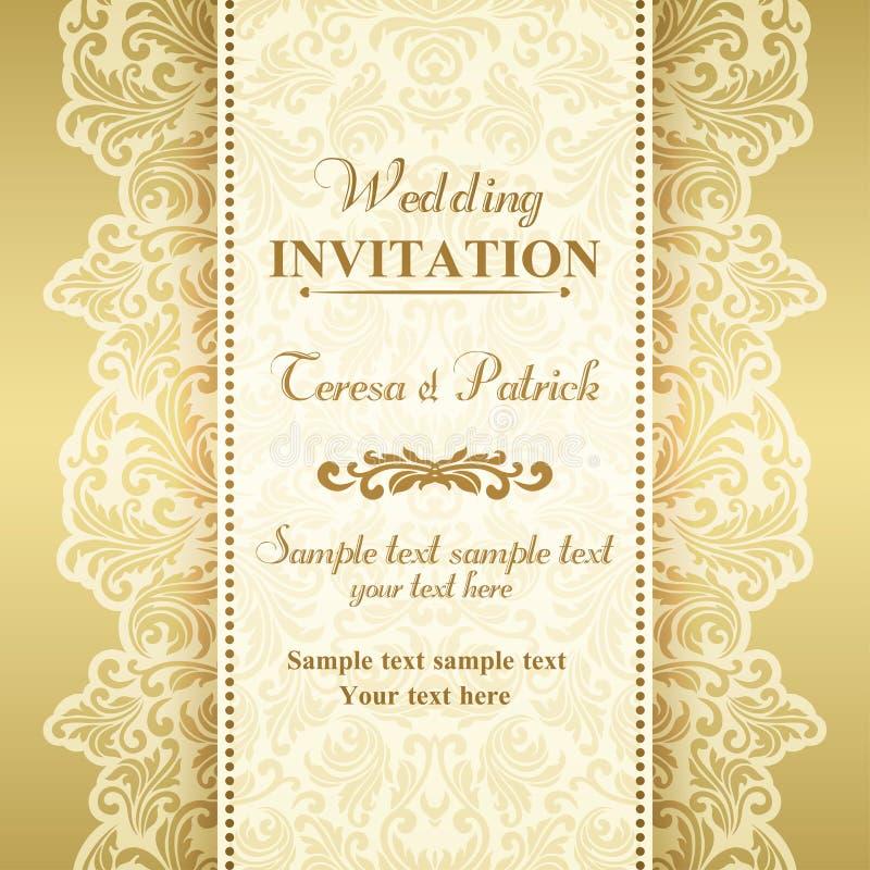 Barokowy ślubny zaproszenie, złoto i beż, ilustracji