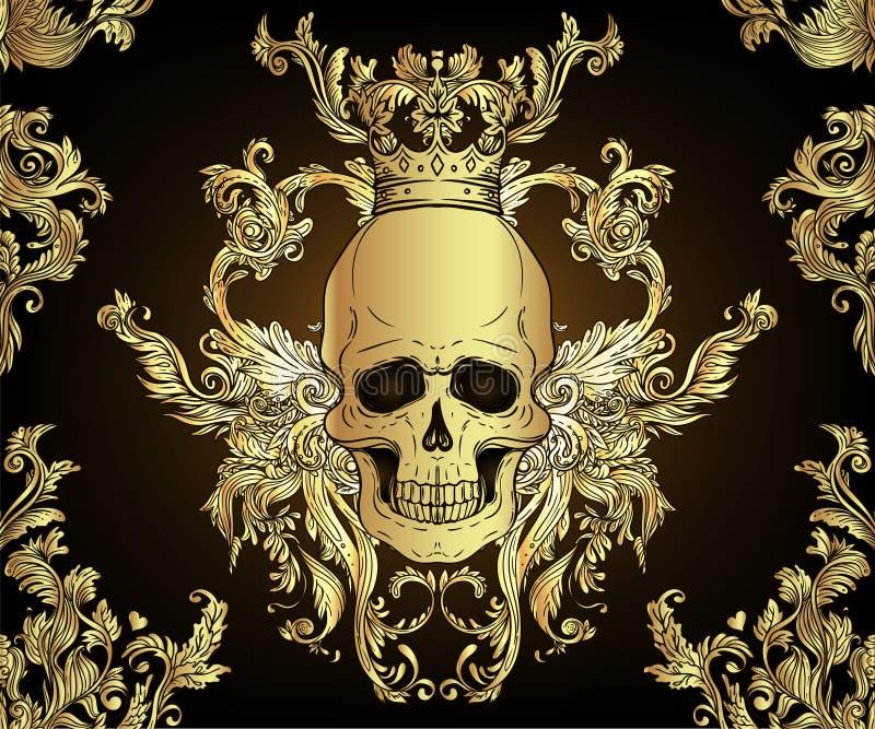 Barokowy bezszwowy ornament Adamaszkowy stylu wzór z czaszką Rocznika ozdobny projekt dla tapety, opakowanie royalty ilustracja