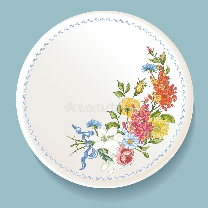 Barokowy bukiet wildflowers na bielu talerzu ilustracja wektor