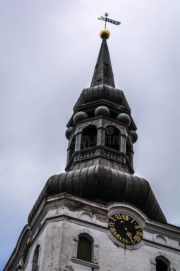 Barokowy dzwonkowy wierza lutheran St Mary katedra w Tallinn, Estonia obraz royalty free