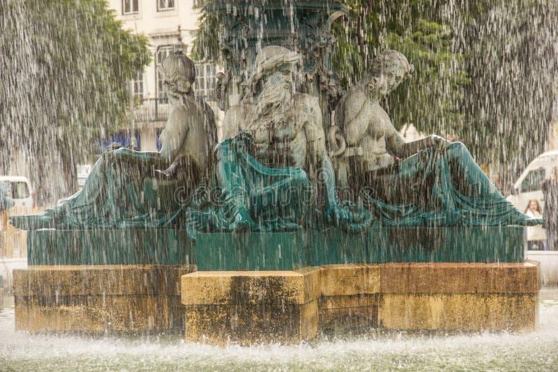 Barokowy fontanna szczegół. Rossio kwadrat. Lisbon. Portugalia obrazy royalty free