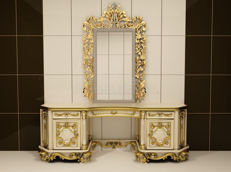 barokowy klatki piersiowej złota lustro królewski royalty ilustracja