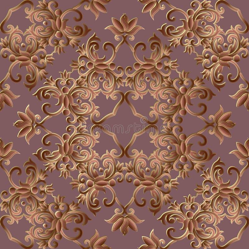 Barokowy ornamentacyjny 3d wektorowy bezszwowy wzór Adamaszkowy ozdobny kwiecisty bogaty tło Rocznika wiktoriański barokowy renai ilustracja wektor
