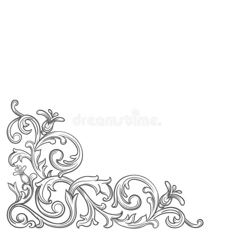 Barokowy rocznika kąt ilustracja wektor