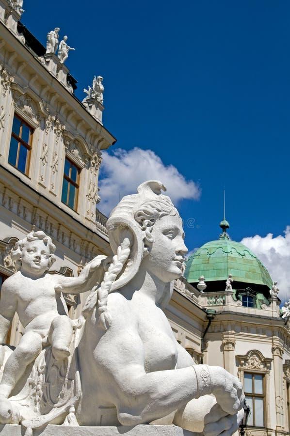 Barokowy sfinks statuy popiersia belwederu kasztelu Wiedeń Austria euro obrazy royalty free