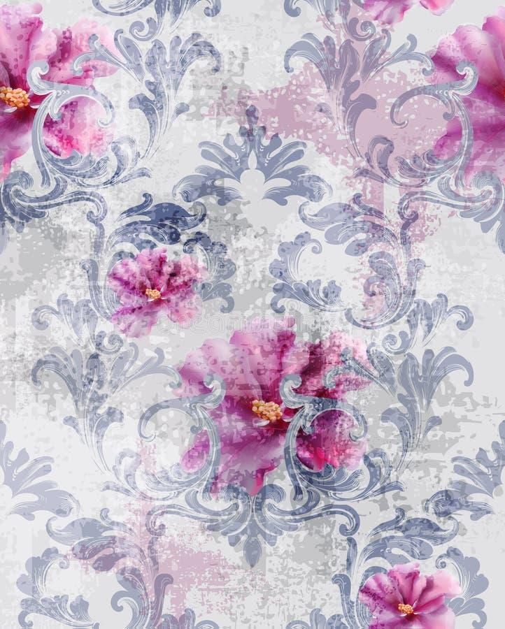 Barokowy tekstura wzór z różami Wektorowymi Kwiecistego ornamentu dekoracja Wiktoriański grawerujący retro projekt Rocznik tkanin ilustracji