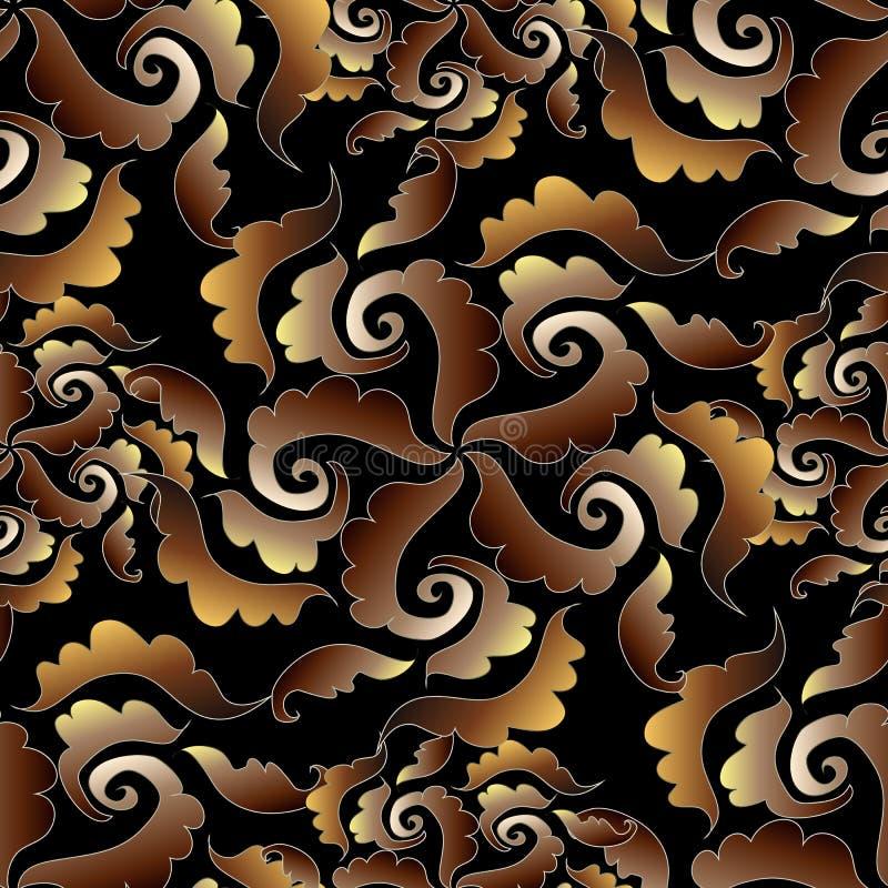 Barokowy w zawiły sposób bezszwowy wzór Ciemny wektorowy kwiecisty backgroun royalty ilustracja
