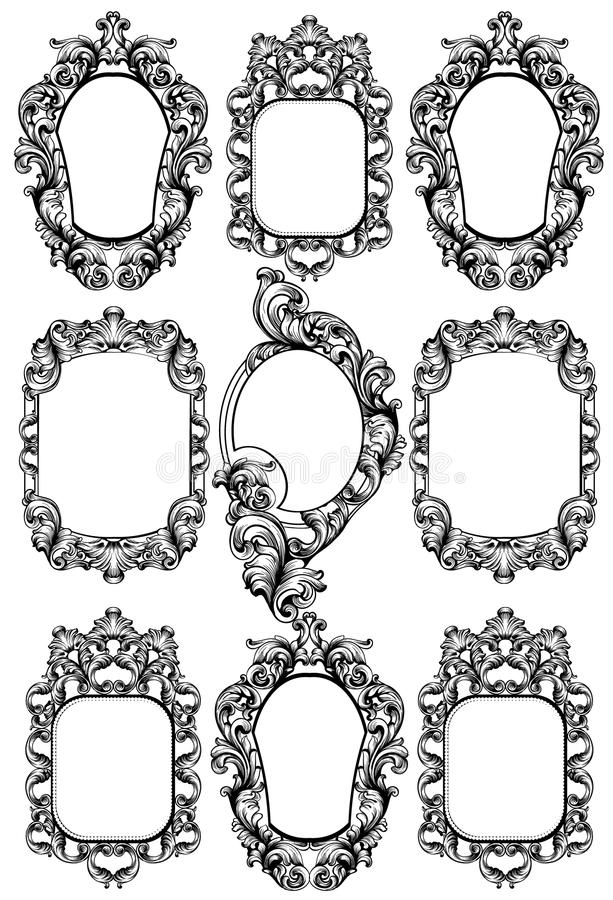 Baroku lustra rama Wektorowi Cesarscy wystroju projekta elementy Bogactwo encarved ornamentuje kreskowe sztuki ilustracji