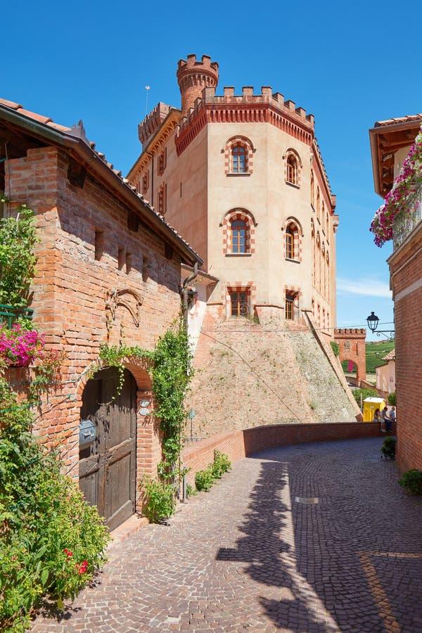 Barolo middeleeuwse kasteel en straat met groene installaties in een zonnige de zomerdag royalty-vrije stock foto