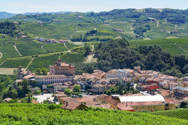 Barolo middeleeuwse stad op Langhe-heuvels, noordelijk Italië royalty-vrije stock afbeelding