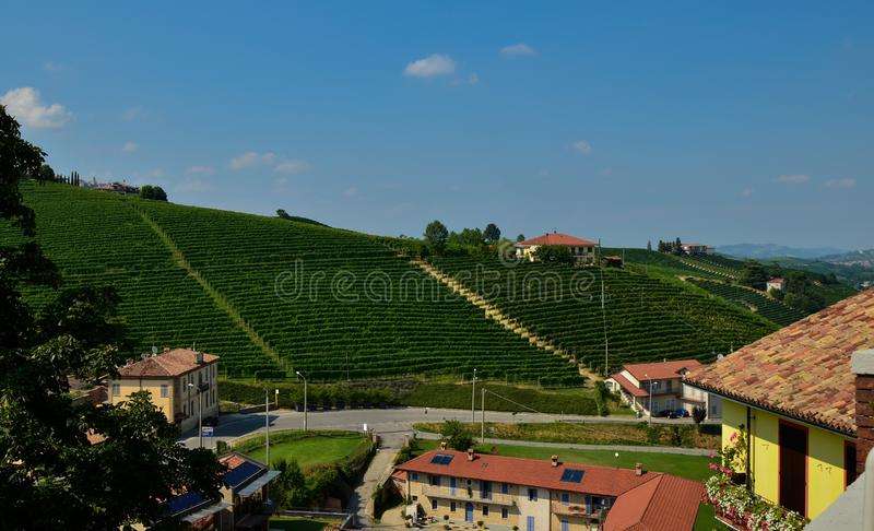 Barolo, Piedmont, Italy. July 2018. From the castle you have magnificent views of the surrounding countryside royalty free stock photo
