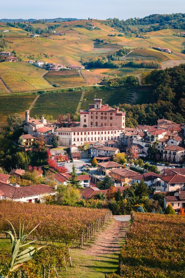 Barolo village view from the vineyard. Autumn landscape langhe nebbiolo vineyards hills. Viticulture Piedmont, Italy. stock images