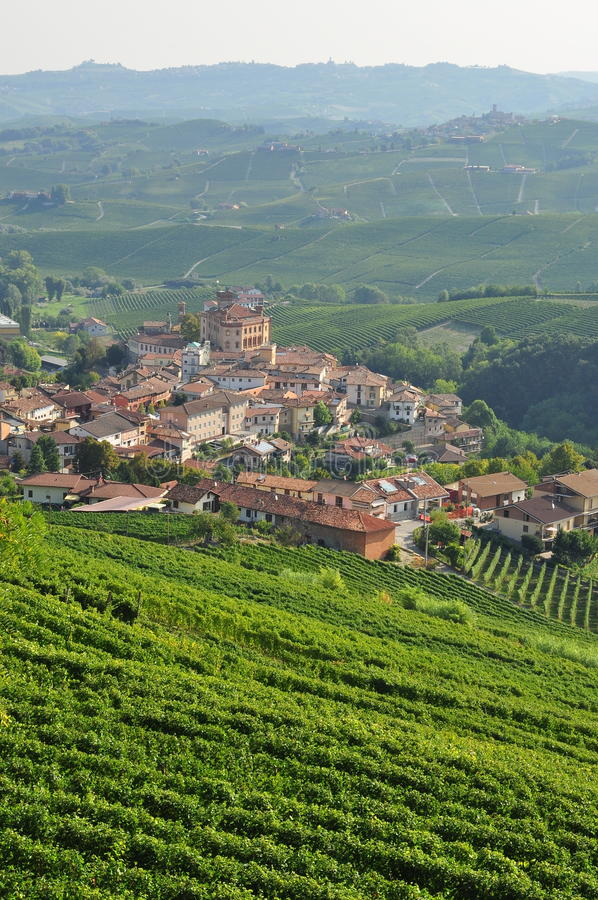 Barolo, vineyard and hills of the Langhe region. Piemonte, Italy. Langhe, the main Piedmont wine producing area. Barolo village. Unesco world heritage site stock image