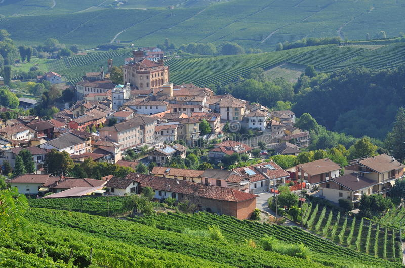 Barolo, vineyard and hills of the Langhe region. Piemonte, Italy. Langhe, the main Piedmont wine producing area. Barolo village. Unesco world heritage site stock photo