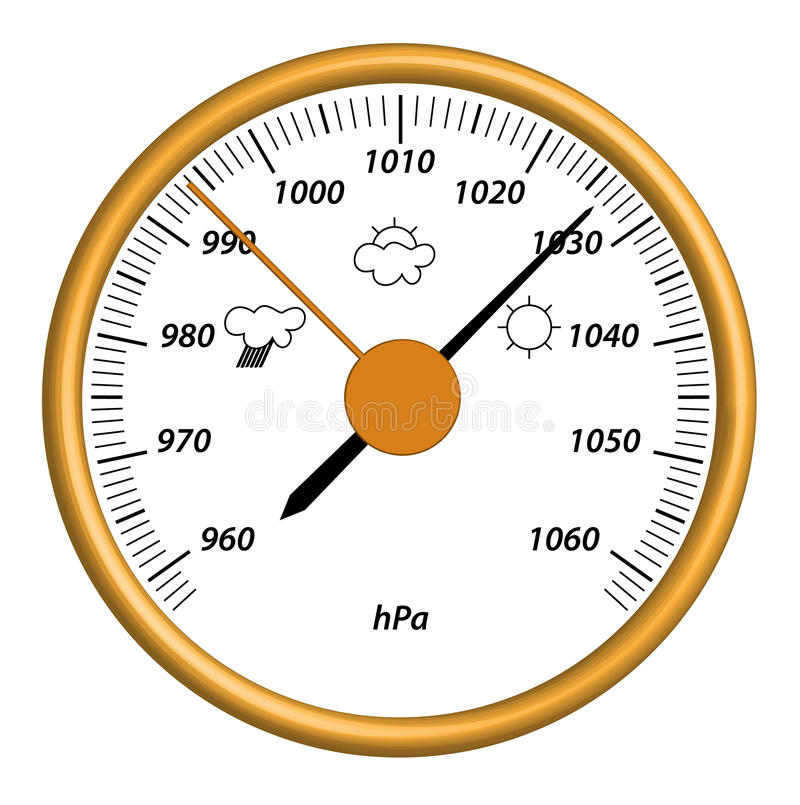 Barometer. Illustration of barometer tool with grad and pict of weather royalty free illustration