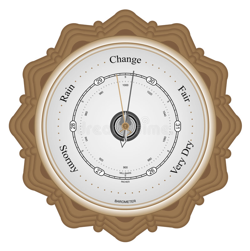 Barometer. On brown wooden plaque with white background royalty free illustration