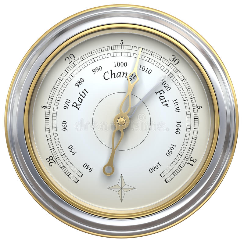 Barometer. 3d render of a barometer royalty free illustration