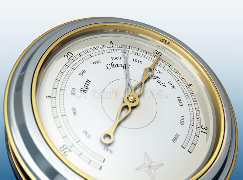 Barometer. 3d render of a barometer stock illustration