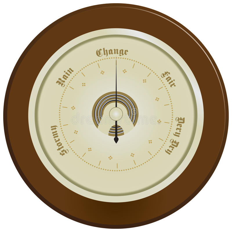 Barometer on dark wood. Wall barometer, edged with dark wood. Vector illustration royalty free illustration