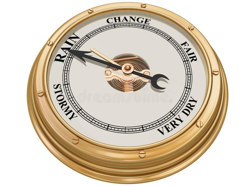 Barometer die op regen wijst royalty-vrije illustratie