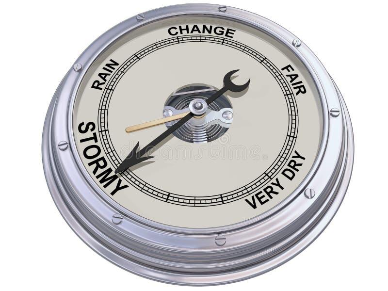 Barometer die op stormachtig weer wijst vector illustratie
